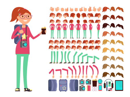 Cartoon girl teenager in casual clothes, Vector creation constuctor with big set of woman body parts, Collection of emotion woman face illustration