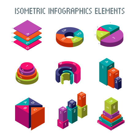 infochart: Infographic isometric vector elements. 3d pie graph, charts and progress bars. Graph and diagram statistic and progress isometric graphic illustration Illustration