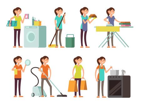 Cartoon gospodyni domowa w zestaw do pracy w domu. Szczęśliwa kobieta gospodarstwo domowe. Gospodyni domowa kobieta ilustracji osoby
