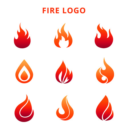 Colorful flame of fire for logo badge or label isolated on white background. Vector illustration Illustration
