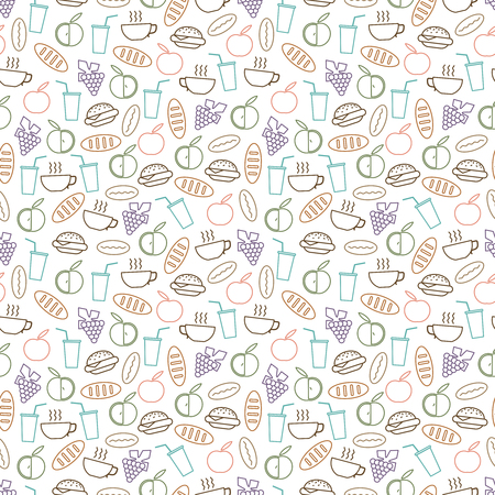 Food and drinks seamless pattern design - seamless texture with burger, drinks, bread and fruits line icons. Background breakfast vector illustration