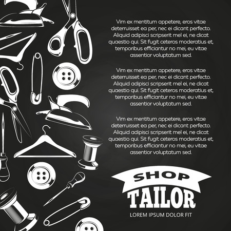 Tailor shop chalkboard poster with button, scissors, pin. Vector illustration
