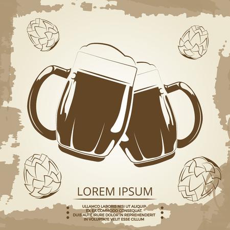 quirky: Beer mugs and hops vintage poster for beer shop. Beverage in mug banner. Vector illustration