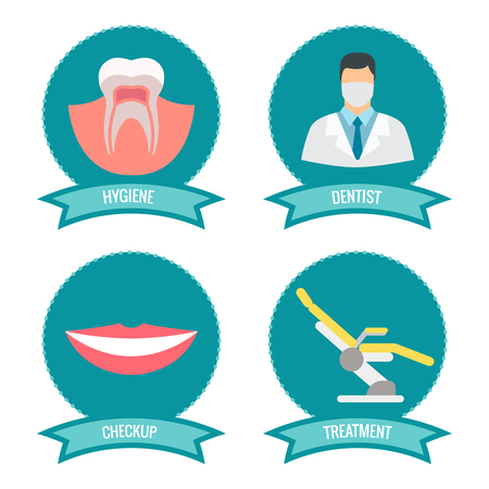 protect: Dental icons with doctor, smile, teeth and medicinal chair. Implant tooth symbol, vector illustration Illustration