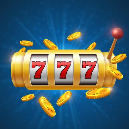 Vainqueur, jeu de fond de vecteur avec une machine à sous. Concept de jackpot Casino. Jeu de hasard pour le casino, illustration de jackpot chanceux et de succès Vecteurs