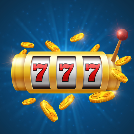 Winner gambling vector background with slot machine. Casino jackpot concept. Gamble game for casino, lucky and success jackpot illustration