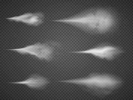 Luchtige waternevel mist vector set. Sproeimondenmist op zwarte transparante achtergrond wordt geïsoleerd die. Luchtige nevel en waternevel schone illustratie