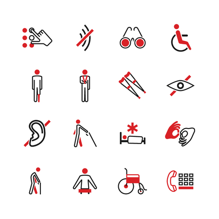 Disabled vector icons. Disability human, braille language and special assistance illustration