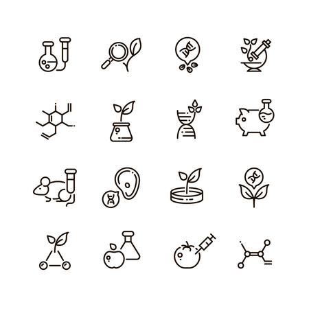 Gmo alimentos y la ciencia médica línea vectorial editable iconos. Ciencia modificación genética ADN en la ilustración de alimentos Ilustración de vector