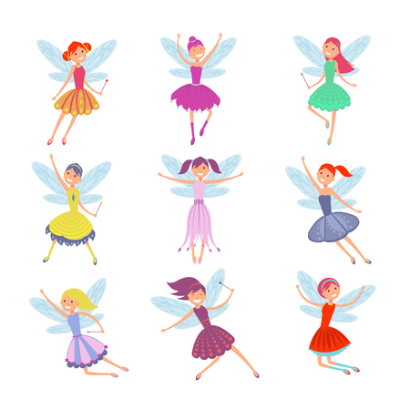 fictional: Cartoon flying fairies in colorful dresses vector set. Cute fairy elf with winds vector collection. Fantasy fairy girl with wings illustration