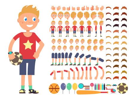 少年の漫画のキャラクター。別の感情と体の部分のベクトルの作成のコンス トラクターです。コンス トラクターの少年キャラ頭足と手イラスト