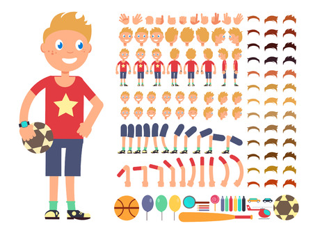 Cartoon boy character. Vector creation constructor with different emotions and body parts. Constructor boy character head leg and hand illustration