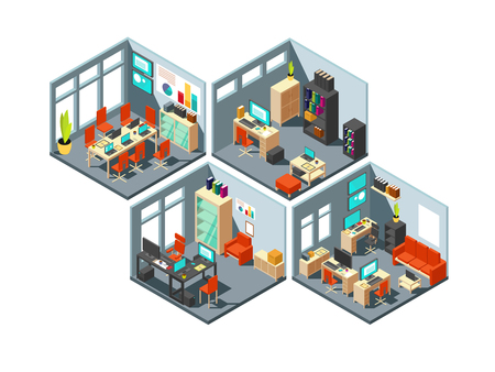 Isometric business offices with different workspaces. 3d vector office plan. Isometric office with room interior illustration