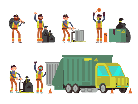 dumpster: Garbage man collecting city rubbish and waste for recycling. Vector set of people collect dumpster city illustration