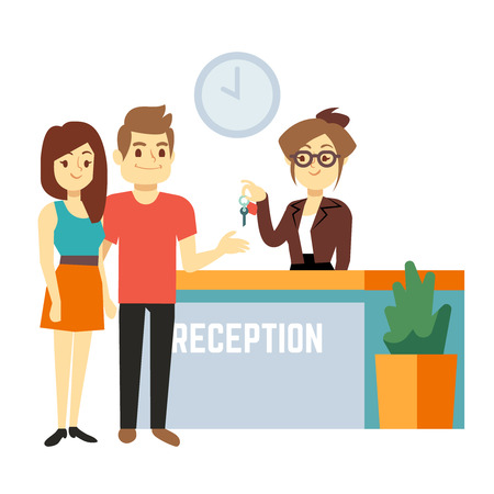 Young and happy couple at reception with smiling receptionist. Hotel reservation on holiday flat vector concept. Illustration