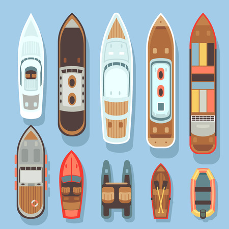 Top aerial view boat and ocean ships vector set. Sea boat and transport for travel on water illustration Illustration