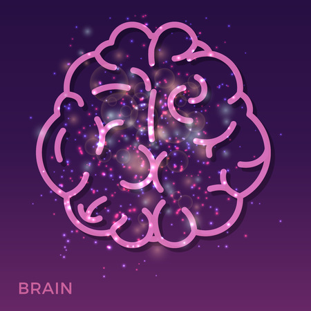 urgency: Abstract creative brain background - colorful brain icon with shining lights. Bright creative brain. Vector illustration