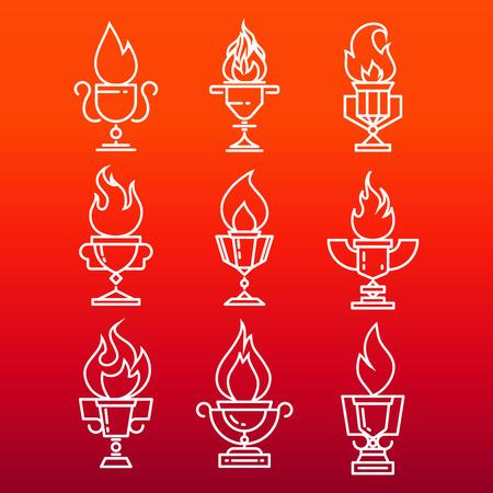 Becher der Feuerlinie Ikonen Set - Trophäen Tasse mit Feuer Flamme. Vektor-Illustration Standard-Bild - 81067764