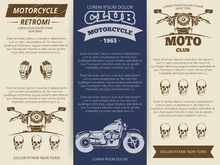 racing sign: Moto club vintage brochure or banners template. Set vector illustration Illustration