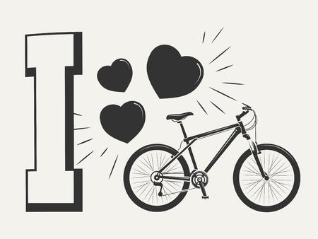 나는 자전거 인쇄 디자인을 좋아합니다 - 자전거와 마음으로 인쇄하십시오. 인쇄 스포츠 스타일 자전거, 벡터 일러스트 레이 션