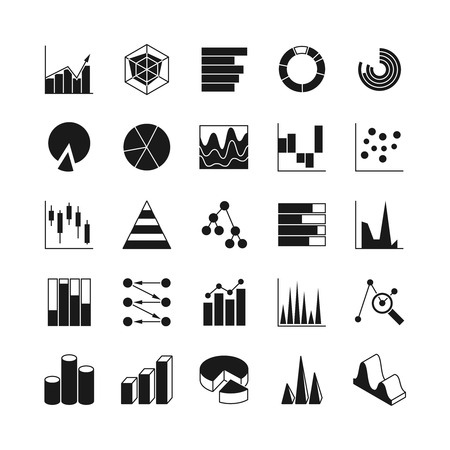 infochart: Data bar graphic and statistics charts vector icons. Growth line business diagram simple web symbols. Graphic data and diagram bar illustration Illustration