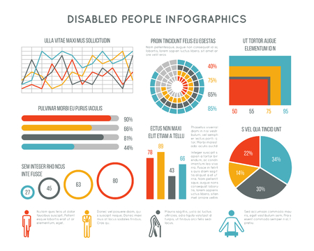 infochart: Healthcare and disability vector infographic with disabled person icons, charts and diagrams. Medical infographic disability people illustration Illustration