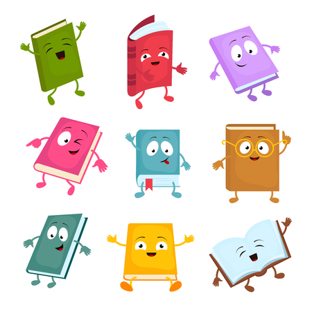 Funny and cute cartoon book vector characters. Happy library books mascots set. Character books cartoon illustration