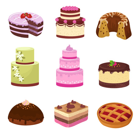 confection: Happy birthday party cakes with decorations isolated on white. Cartoon sweet desserts vector set. Cake to birthday party and celebration, cartoon decoration sweet cake illustration Illustration