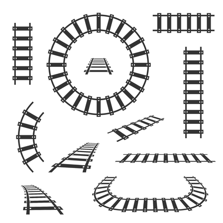 Straight and curved railroad tracks vector black icons. Transportation rail curve straight and road illustration Illustration