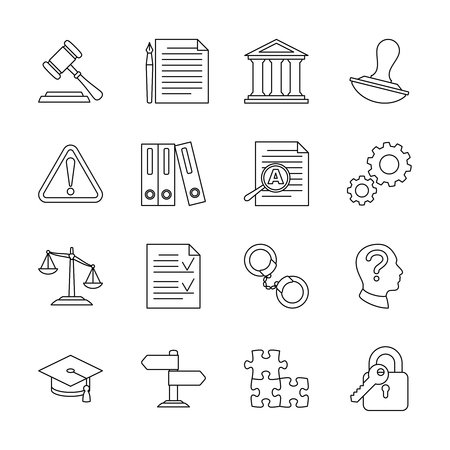 compliant: Legal compliance and regulation vector line icons. Law and legal regulation, document and governance illustration