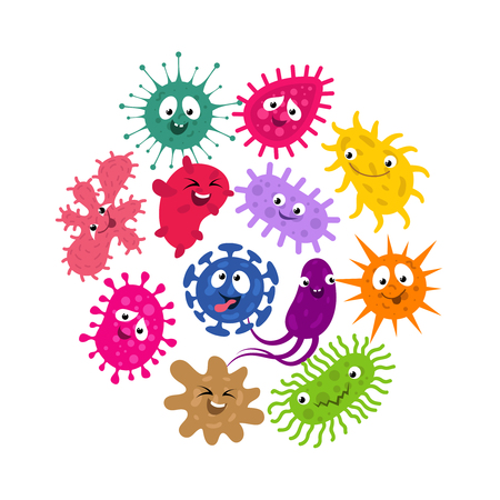 Funny germs and virus kids vector background. Illustration of characters group bacteria and microbe organism infection Illustration