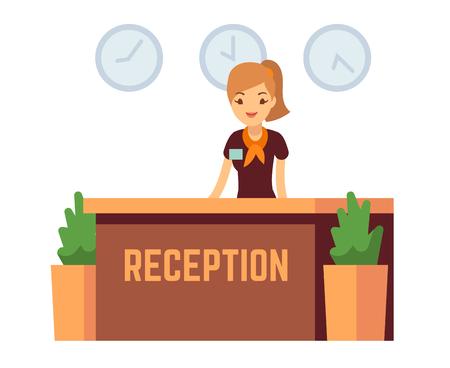 Bankbureau of hotelontvangst met vectorillustratie van de receptionnist de glimlachende vrouw. Receptie met receptioniste voor vrouwen