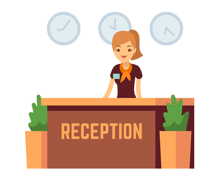 Bank office or hotel reception with receptionist smiling woman vector illustration. Reception hall with woman receptionist Illustration