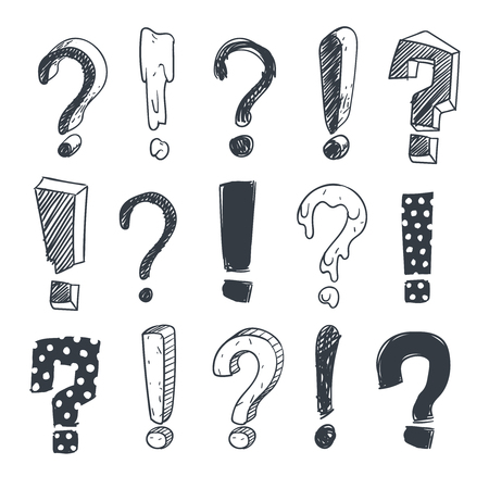 Grunge doodle sketch exclamation and question marks vector set. Collection of question mark and exclamation marks illustration Banco de Imagens