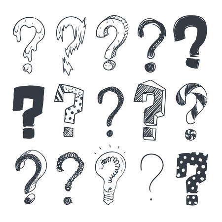 quest: Doodle question marks. Hand drawn interrogation query symbols vector set. Mark sketch question collection illustration