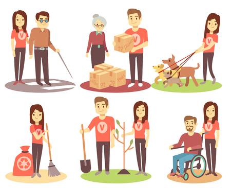 Le bénévolat et le soutien des personnes vector plate icônes avec de jeunes bénévoles. Caractère femme bénévole aide et donnant illustration