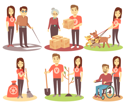 Volunteering and supporting people vector flat icons with young volunteer persons. Character woman volunteer help and giving illustration Illustration