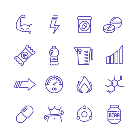 Sports vitamins and food supplements thin line vector icons. Fat burning pills and energy drinks pictograms. Sport vitamin nutrition for fitness and energy illustration Stock Photo