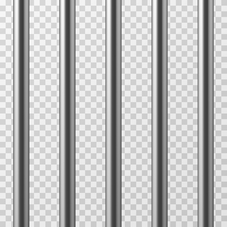 Realistic metal prison bars. Jailhouse grid isolated vector illustration. Prison bar steel, iron jail cage Stock Photo