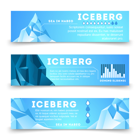 Nature information banners template with iceberg polar, vector business template card illustration