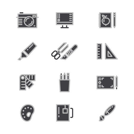 office stapler: Office statonery, creative and graphic design tools line icons. Creative graphic design stationery, vector illustration Illustration