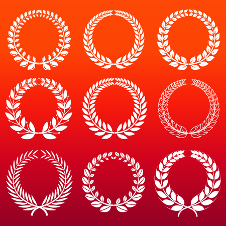 wheaten: Laurel wreaths set - white decorative winners wreath. Design element icon. Vector illustration Illustration