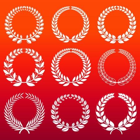 Laurel wreaths set - white decorative winners wreath. Design element icon. Vector illustration Иллюстрация