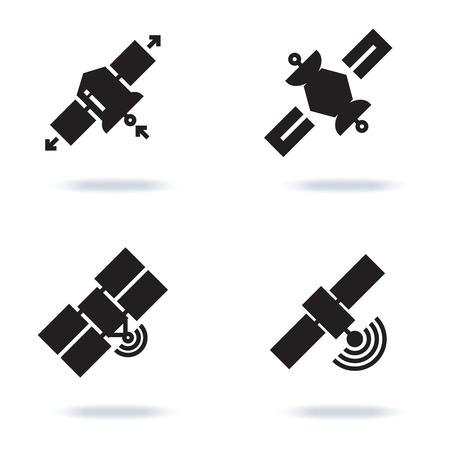 Satellite and orbit communication icons isolated on white background. Technology space vector illustration