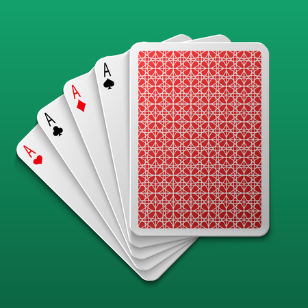 Four aces poker playing card on game table. Casino big win gamble vector background. Combination ace for play game poker illustration Illustration