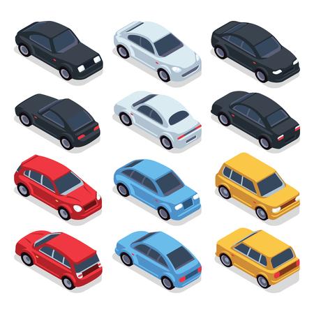 Isometric 3d cars. Transportation technology vector vehicles set. Isometric vehicle transport, illustration of colored cars Vector Illustration