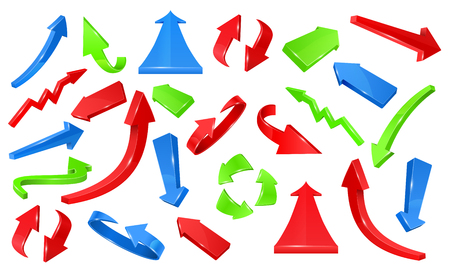 Multicolored 3d glossy arrows. Pointing signs vector set of direction colored arrow illustration