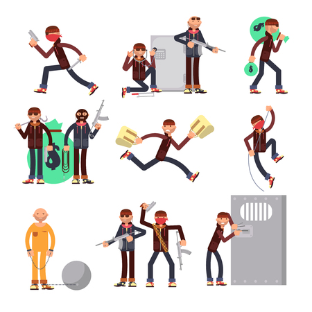 Criminal offender in different actions vector set. Burglar and thief cartoon characters. Illustration of crime, robber with money bag