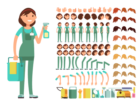 Cleaning company employee. Woman cleaner vector character. Creation constructor with big set of body parts for animation.