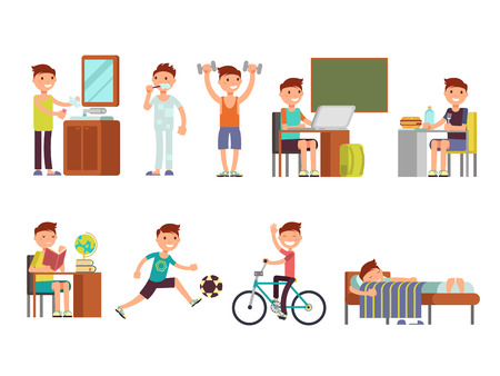 Child boy daily routine vector set. Routine school boy, illustration of daily sleeping everyday 일러스트